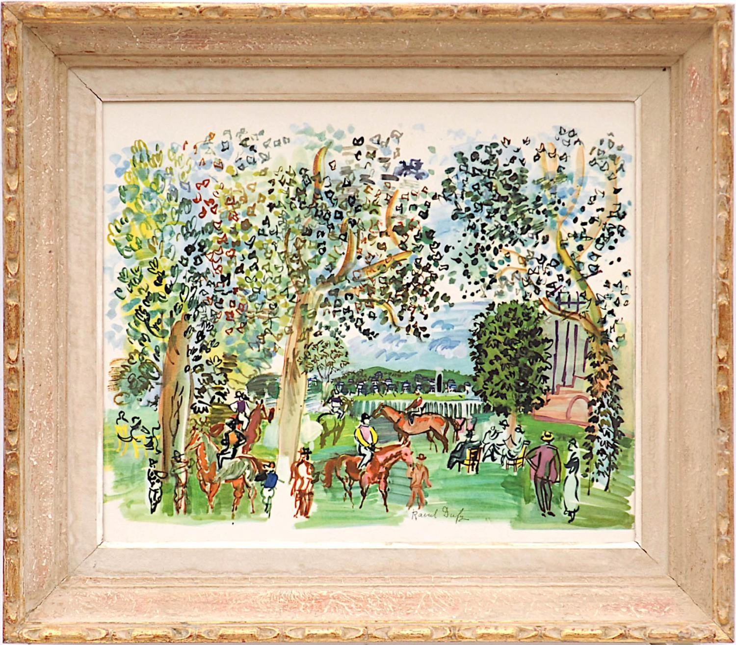 RAOUL DUFY 'Paddock à Deauville', lithograph, signed in the plate, 37cm x 45cm.