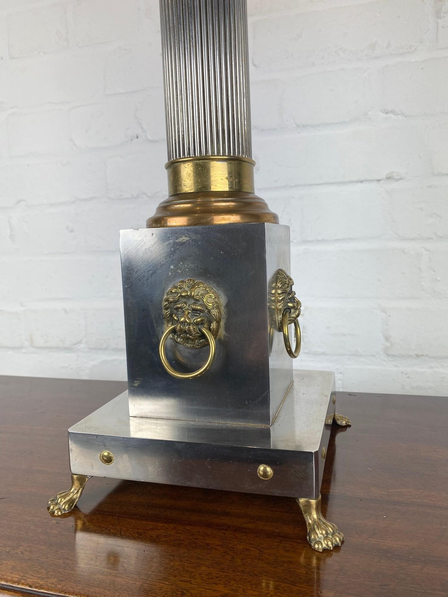 COLUMN HALL LAMP, early 20th century English silver plate, copper and brass four branch, with lion - Image 4 of 8