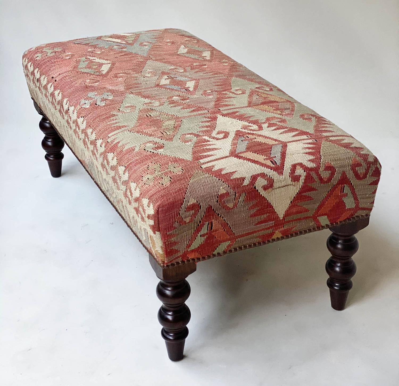 GEORGE SMITH KELIM HEARTH STOOL, rectangular antique kelim upholstered with solid mahogany turned - Image 3 of 9