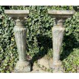 GARDEN PLANT STANDS, a pair, aged faux ceramic, foliate detail, 95cm H. (2)