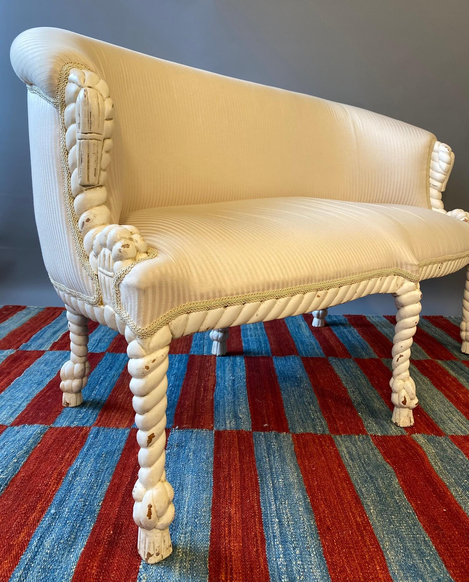 CANAPE, in the manner of A.M.E. Fournier, 20th century French painted carved rope twist frame with - Image 3 of 6