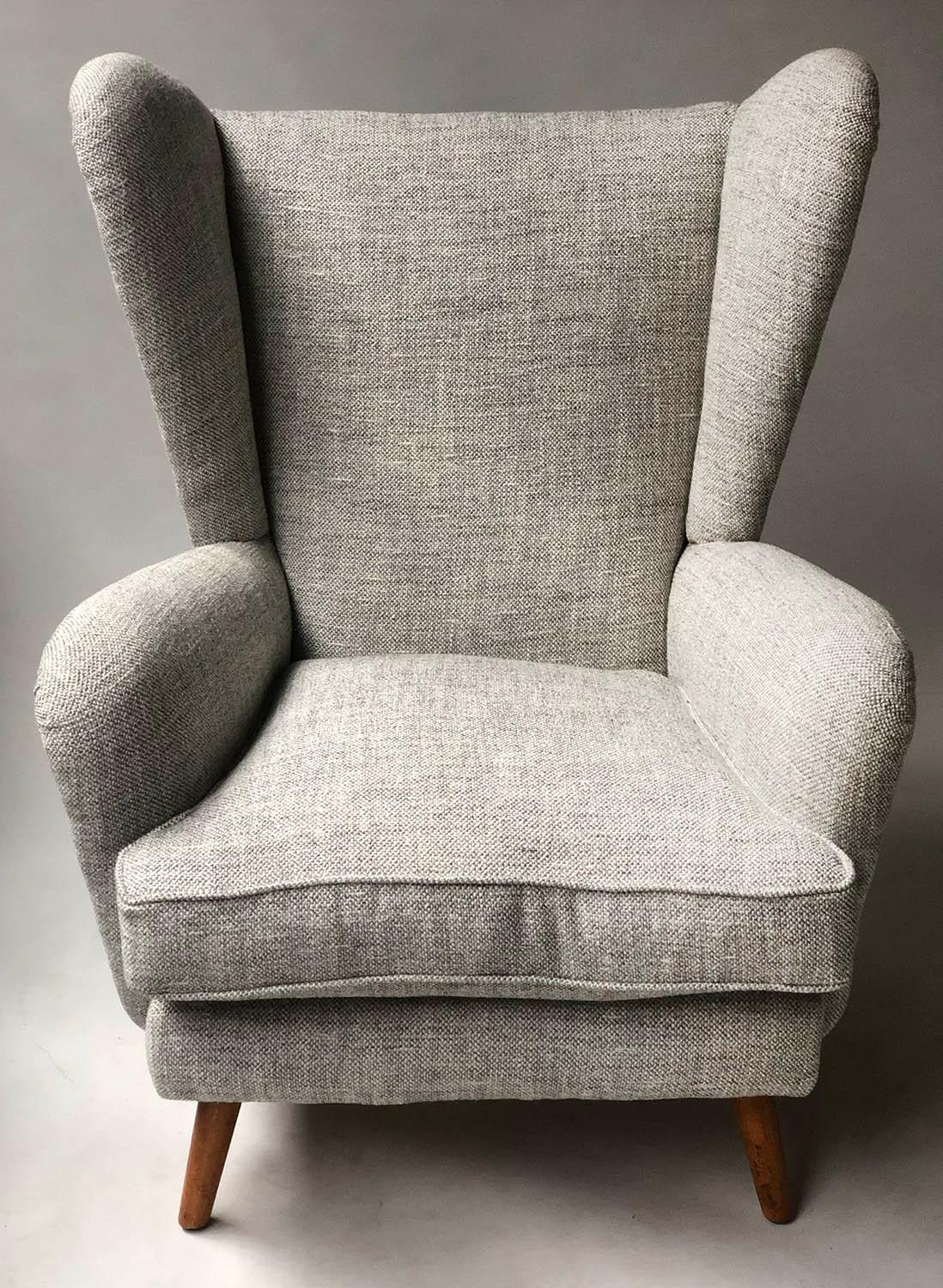 HOWARD KEITH ARMCHAIR, 1950's lounge chair newly upholstered in oatmeal soft tweed with splay - Image 2 of 5