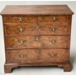 CHEST, early 18th century English Queen Anne figured walnut with two short and three long drawers,