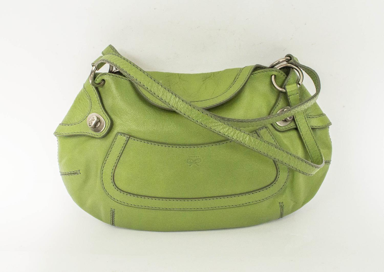 ANYA HINDMARCH SHOULDER BAG, leather with contrasting stitching, gun metal hardware, double top