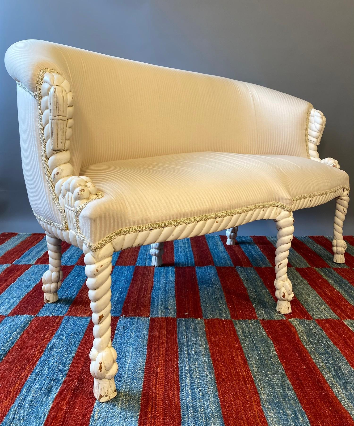 CANAPE, in the manner of A.M.E. Fournier, 20th century French painted carved rope twist frame with