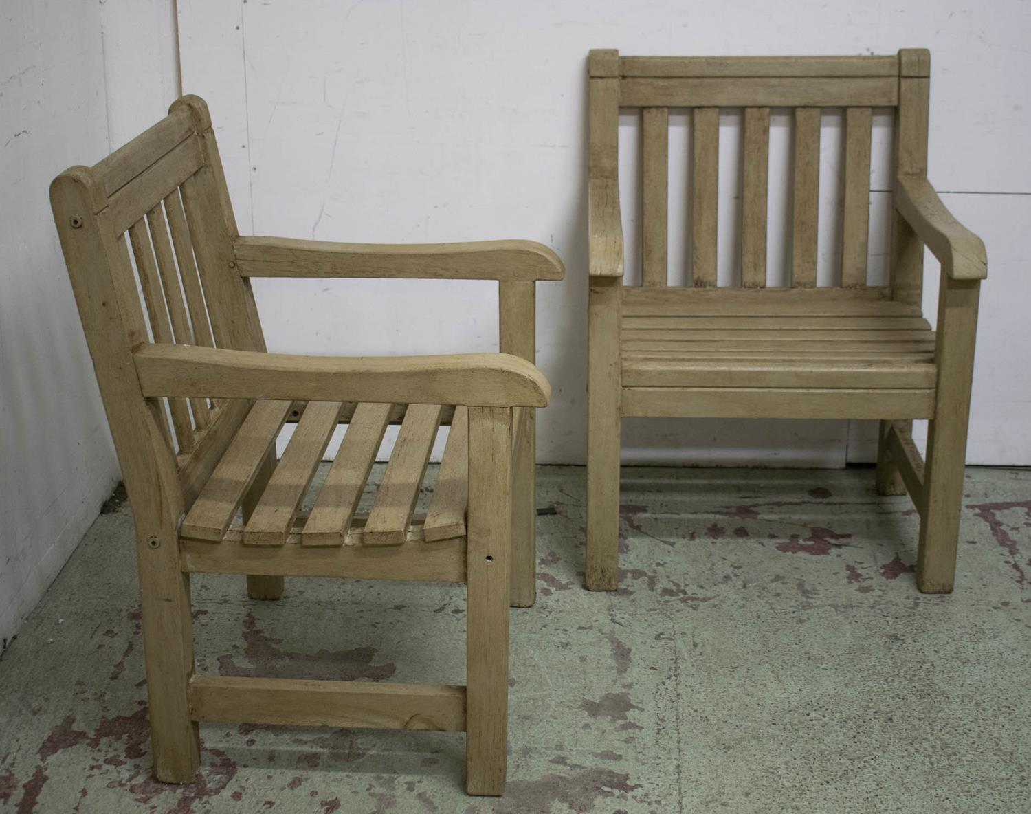 GARDEN ARMCHAIRS, a set of four painted teak, 65cm W. (4) - Image 2 of 2