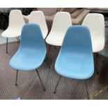 VITRA DSX CHAIRS, a set of six, by Charles and Ray Eames, four white, two blue, 80cm H. (6)