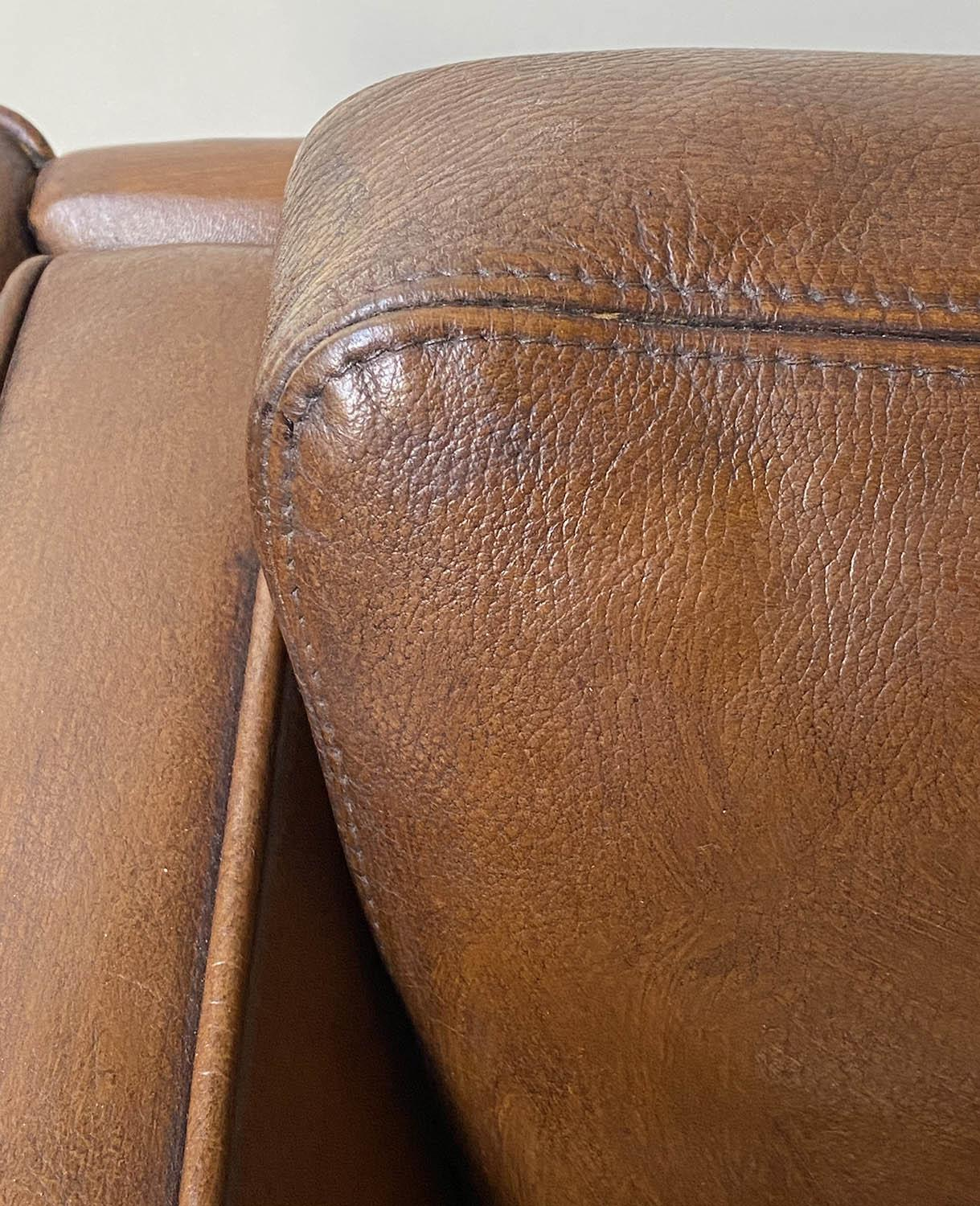 SOFA, teak, 1970's Danish style grained tan leather with two cushion seat and back, 150cm W. - Image 5 of 5