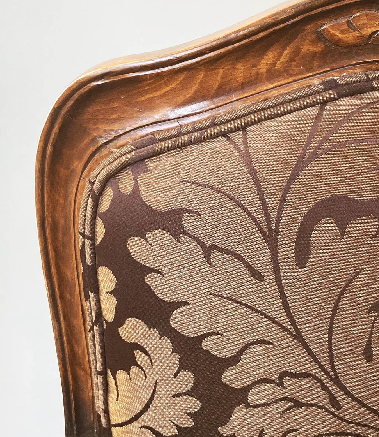 FAUTEUILS, a pair, French Louis XV style, stained walnut, with two tone brown leaf silk - Image 5 of 9