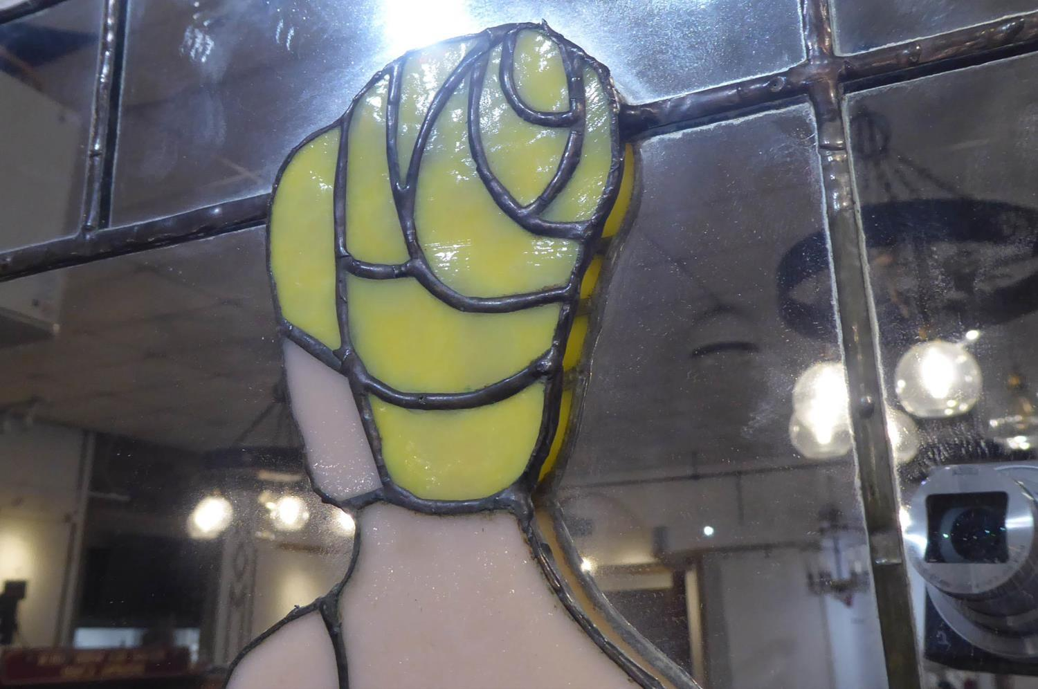 WALL MIRRORS, a set of two, with stained glass Art Deco style female figure detail detail, 93cm x - Image 3 of 6