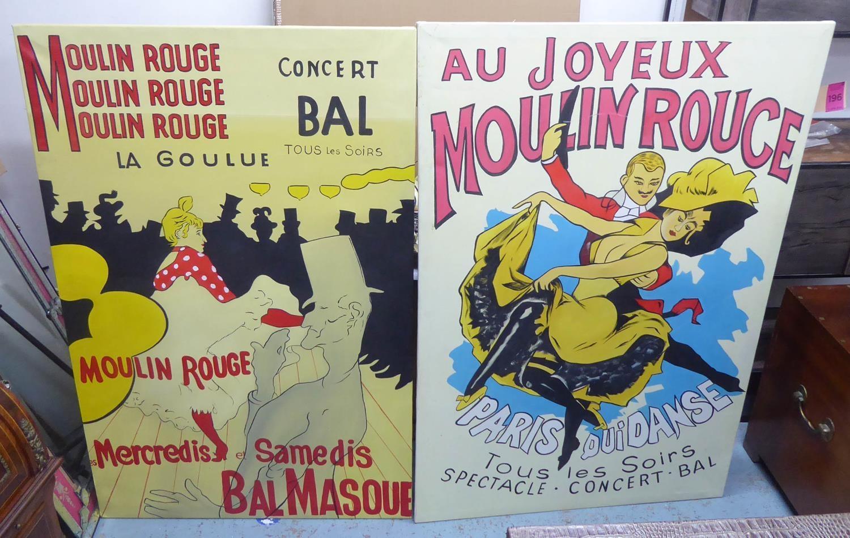 AFTER HENRI DE TOULOUSE-LAUTREC, a set of two, on cavas, 149cm x 100cm each. (2)