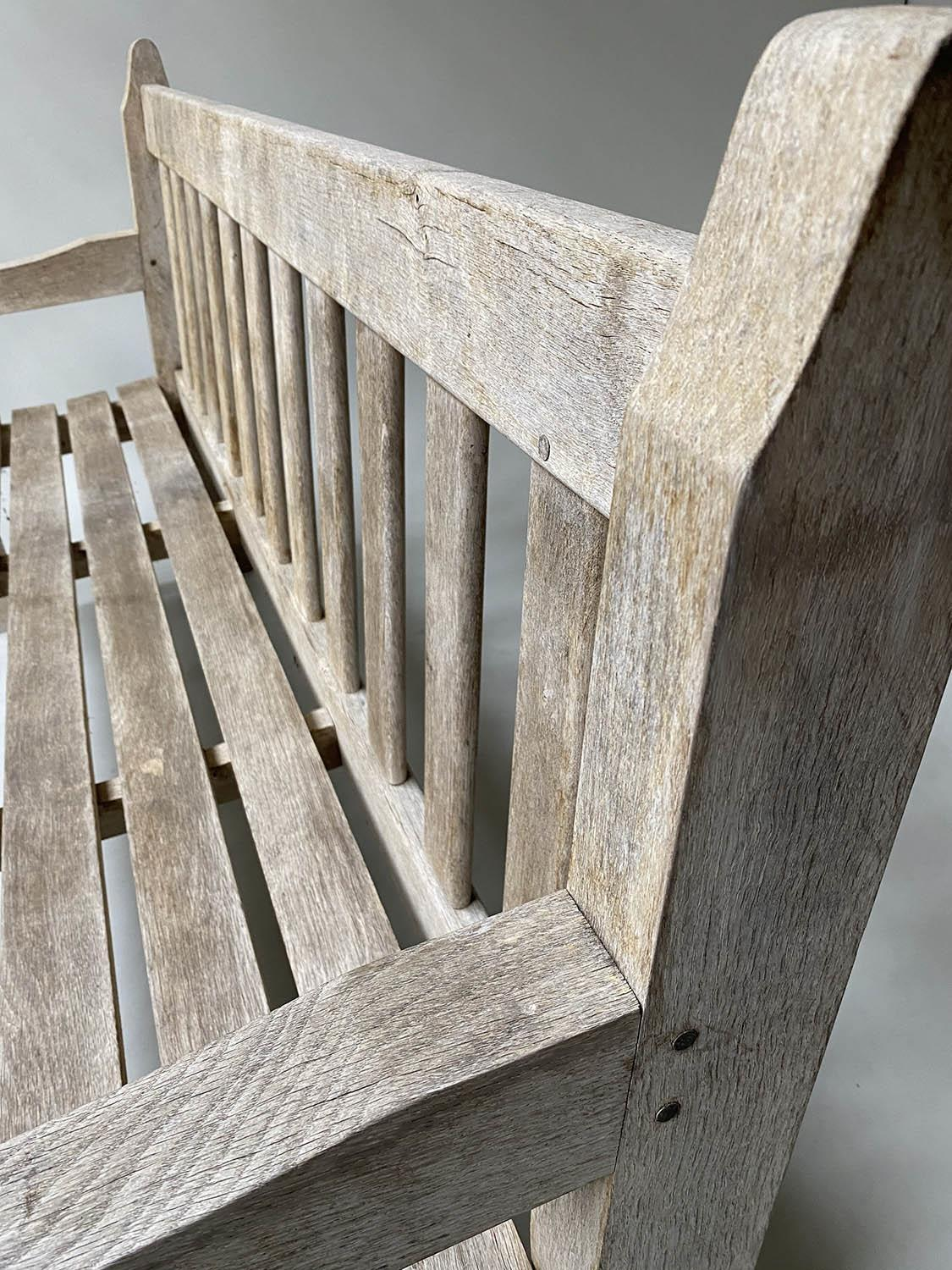 ENGLISH GARDEN BENCH, weathered English oak of substantial and slatted construction, 168cm W. - Image 4 of 8