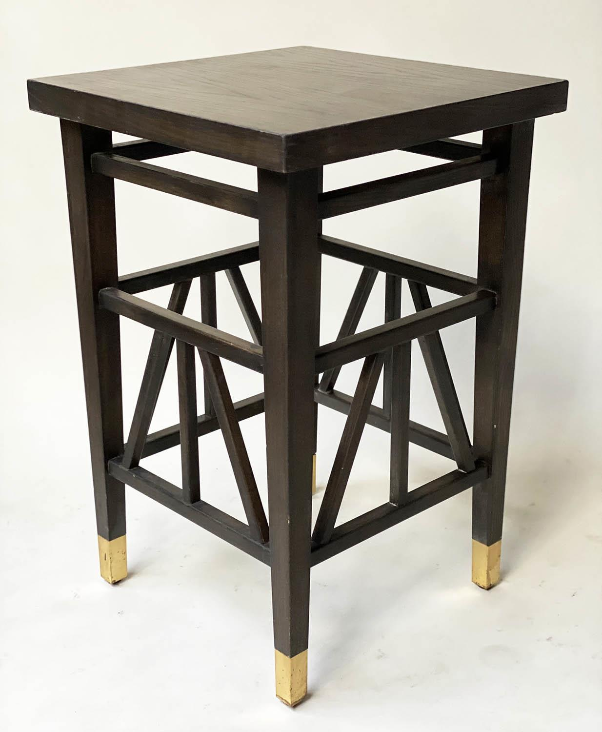 LAMP TABLES, a pair, Liberty style black lacquered, square tops with brass tipped supports, 40cm x - Image 3 of 5