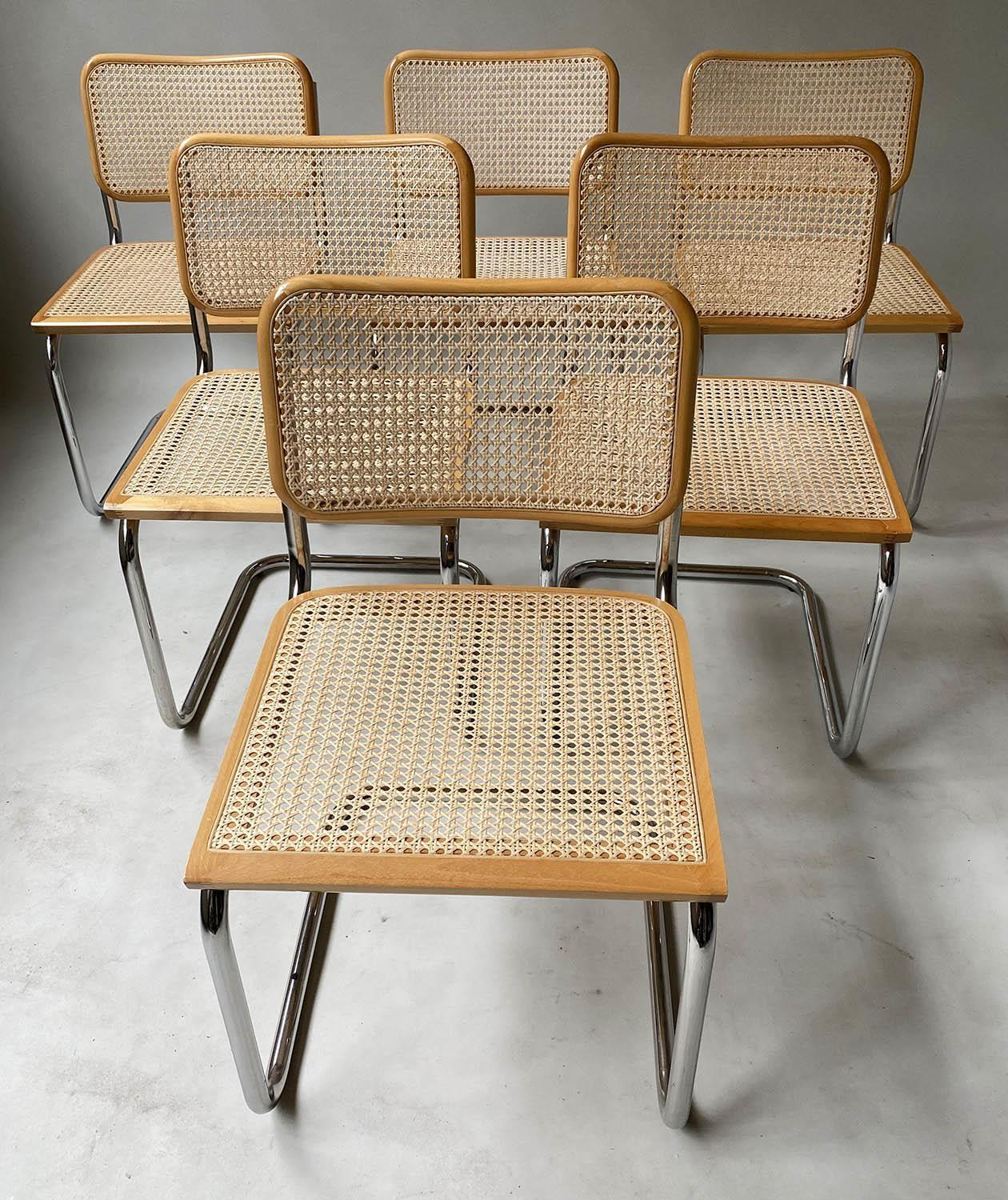 AFTER MARCEL BREUER DINING CHAIRS, Cesca style chairs, a set of six beech wood cane paneled and