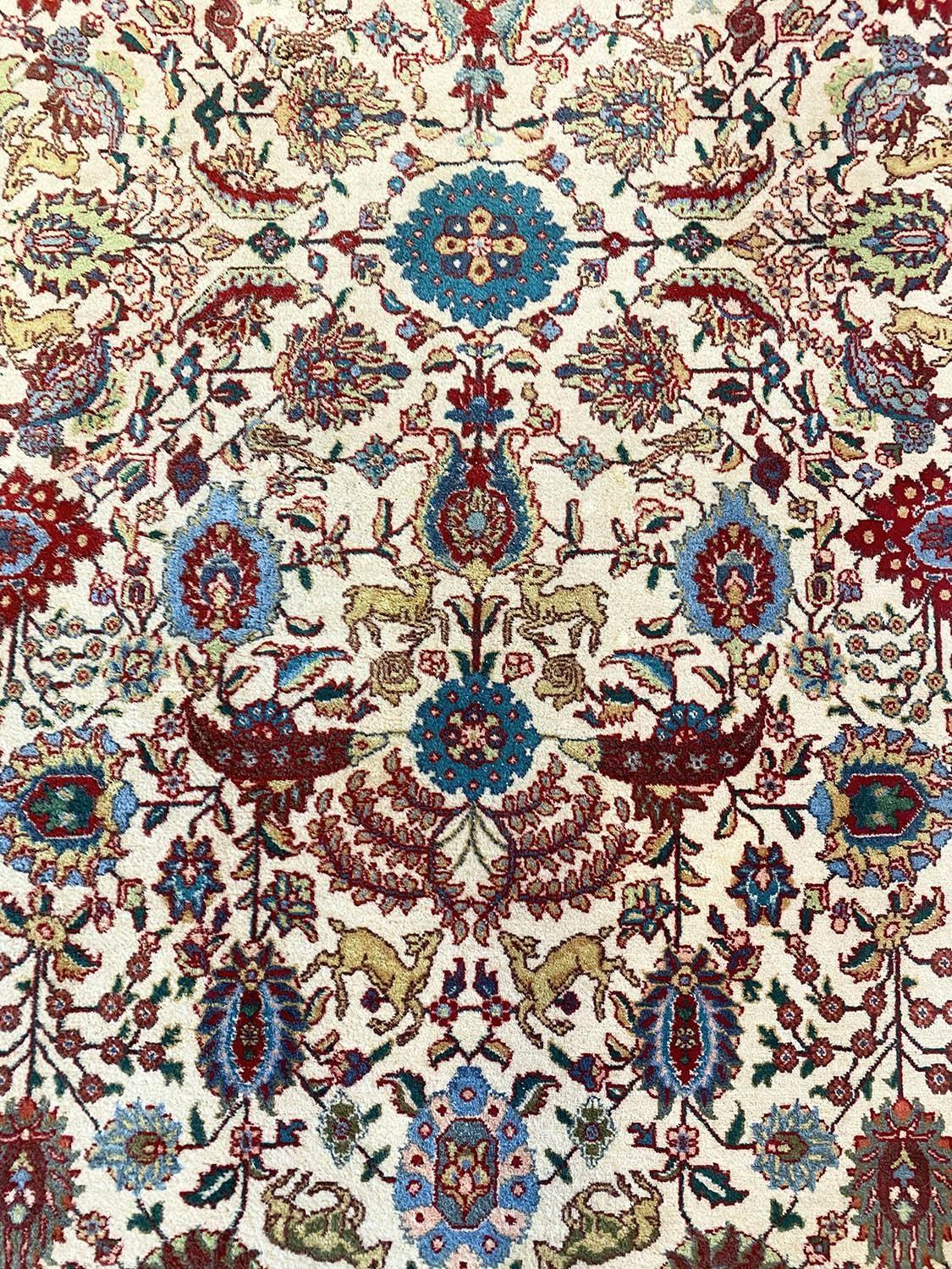 FINE PERSIAN TABRIZ CARPET, 387cm x 288cm, all over palmette and vine design with deer motifs within - Image 2 of 5