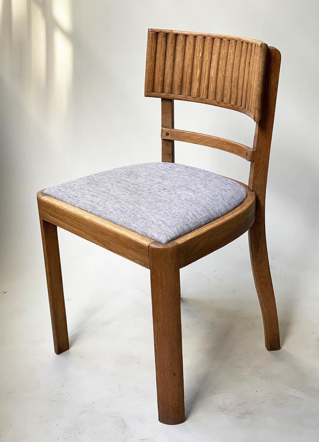 DINING CHAIRS, a set of four oak with ridged bar back and tweed seats. (4) - Image 5 of 5