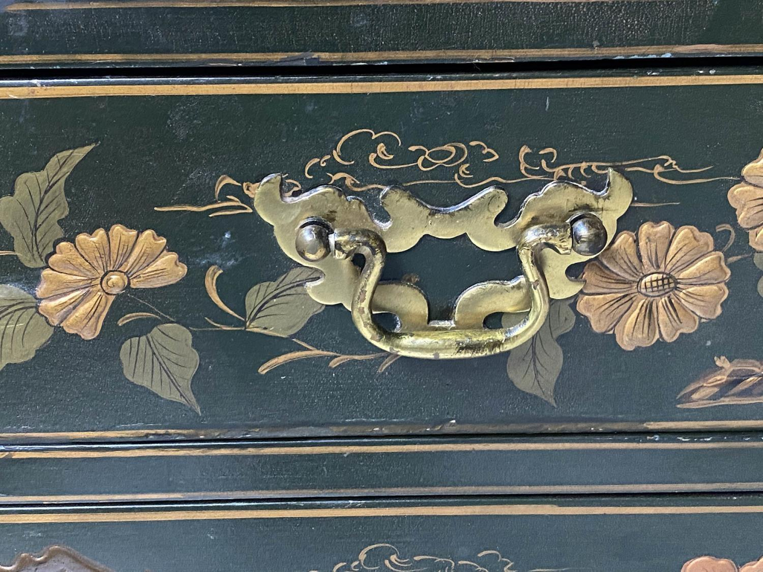 CABINET ON CHEST, 20th century dark green lacquer, gilt metal mounted and Chinoiserie decorated in - Image 6 of 9