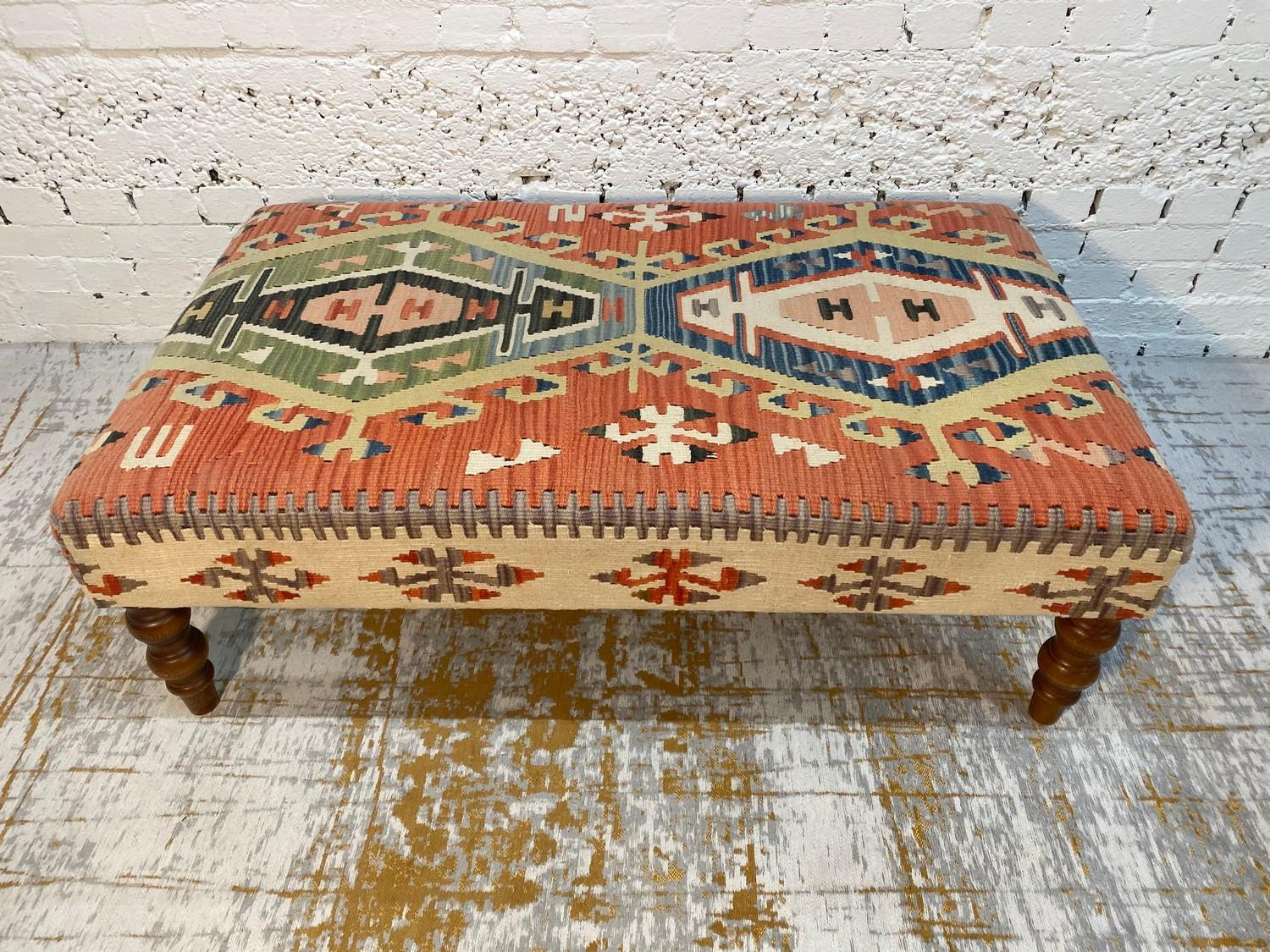KILIM HEARTH STOOL, George Smith style, raised on turned supports, 40cm H x 120cm x 70cm. - Image 3 of 4