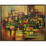 HUONG (Vietnam 20th/21st century) 'Town in Abstract form', oil on canvas, 69cm x 86cm, signed and