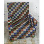 YORUBA BEADED THRONE CHAIR, Nigerian beads on palmwood, 95cm H x 75cm x 65cm. (some damage to