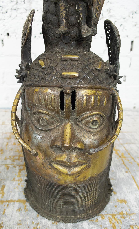 BENIN OBA BRONZE THRONE HEADS, a pair, 105cm H. (2) - Image 4 of 6