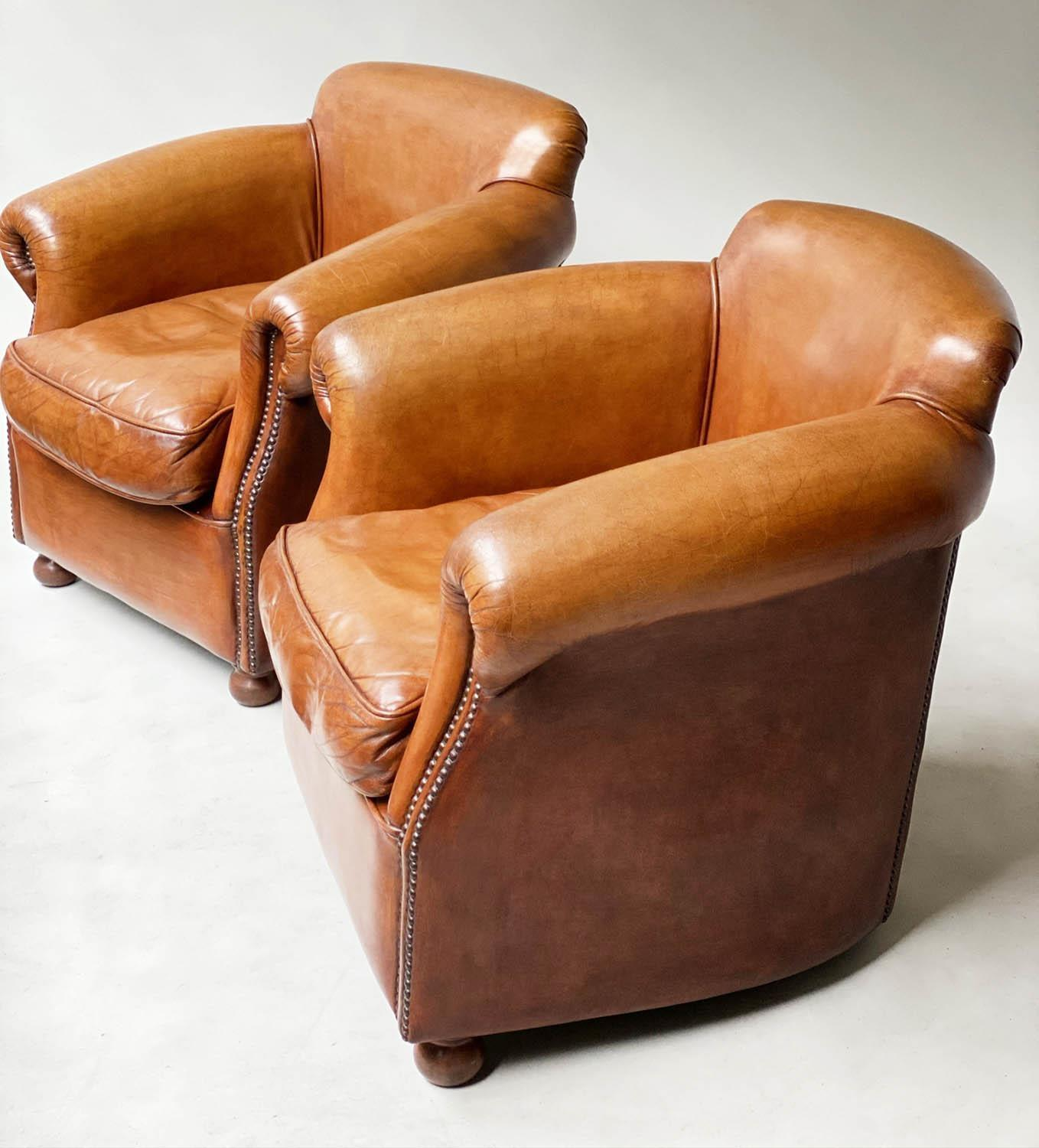 CLUB ARMCHAIRS, a pair, tobacco leaf brown leather and brass studded with scroll arms, 83cm W. (2) - Image 6 of 6