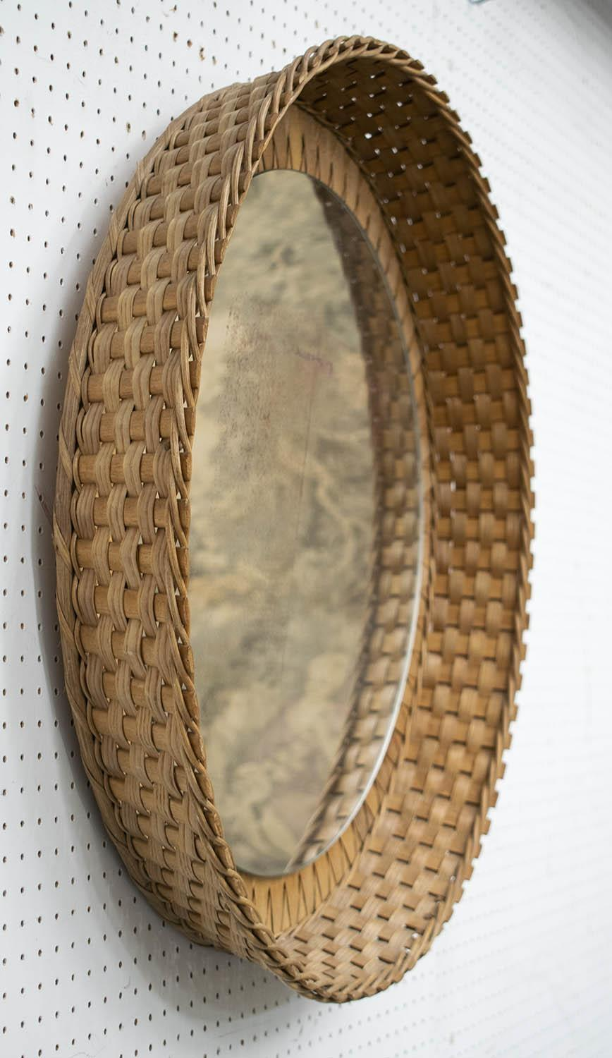 WALL MIRROR, wicker with distressed circular plate, 66cm D. - Image 2 of 2