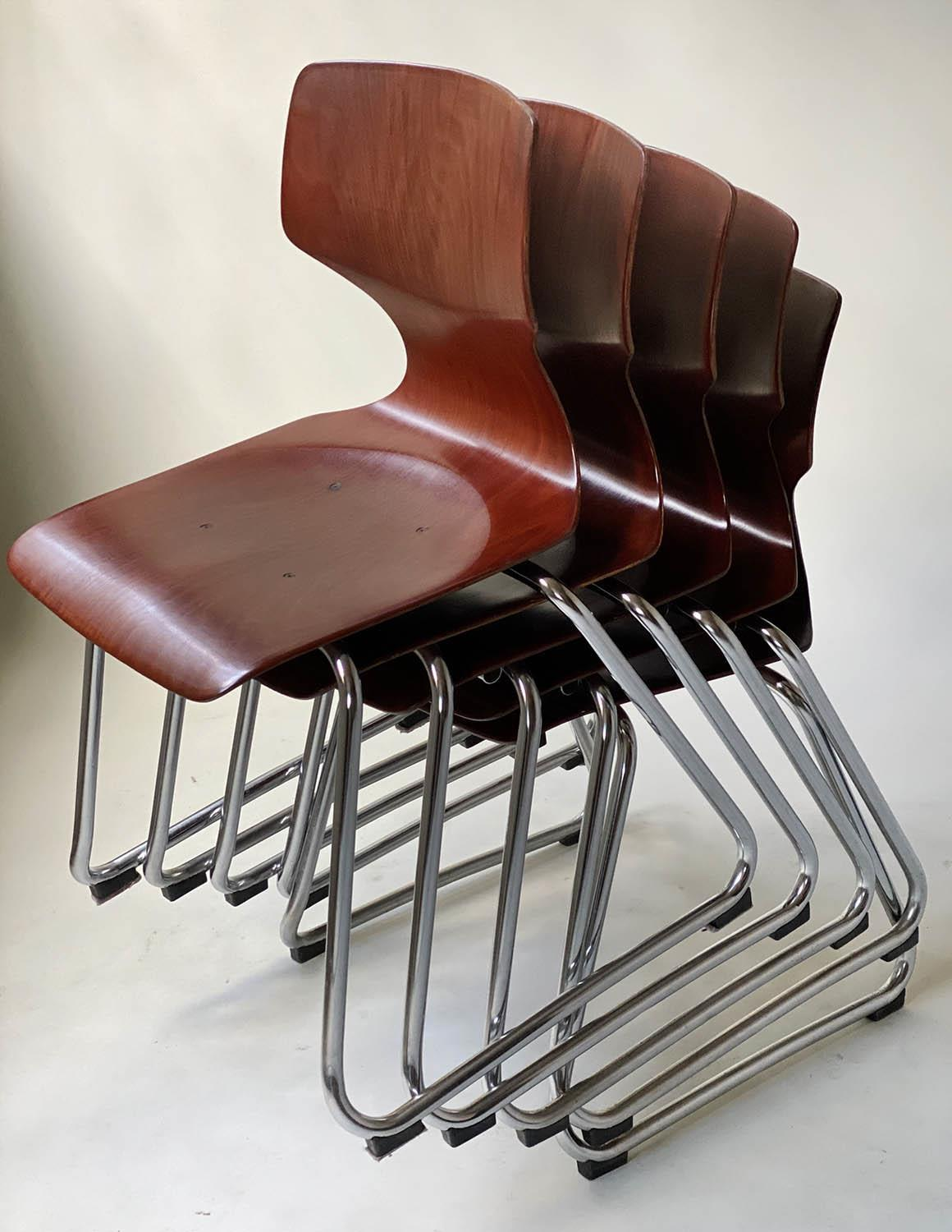 FLOTOTTO PAGHOLZ DINING CHAIRS, a set of five, by Elmar Flototto, 78cm H. (5) - Image 9 of 9