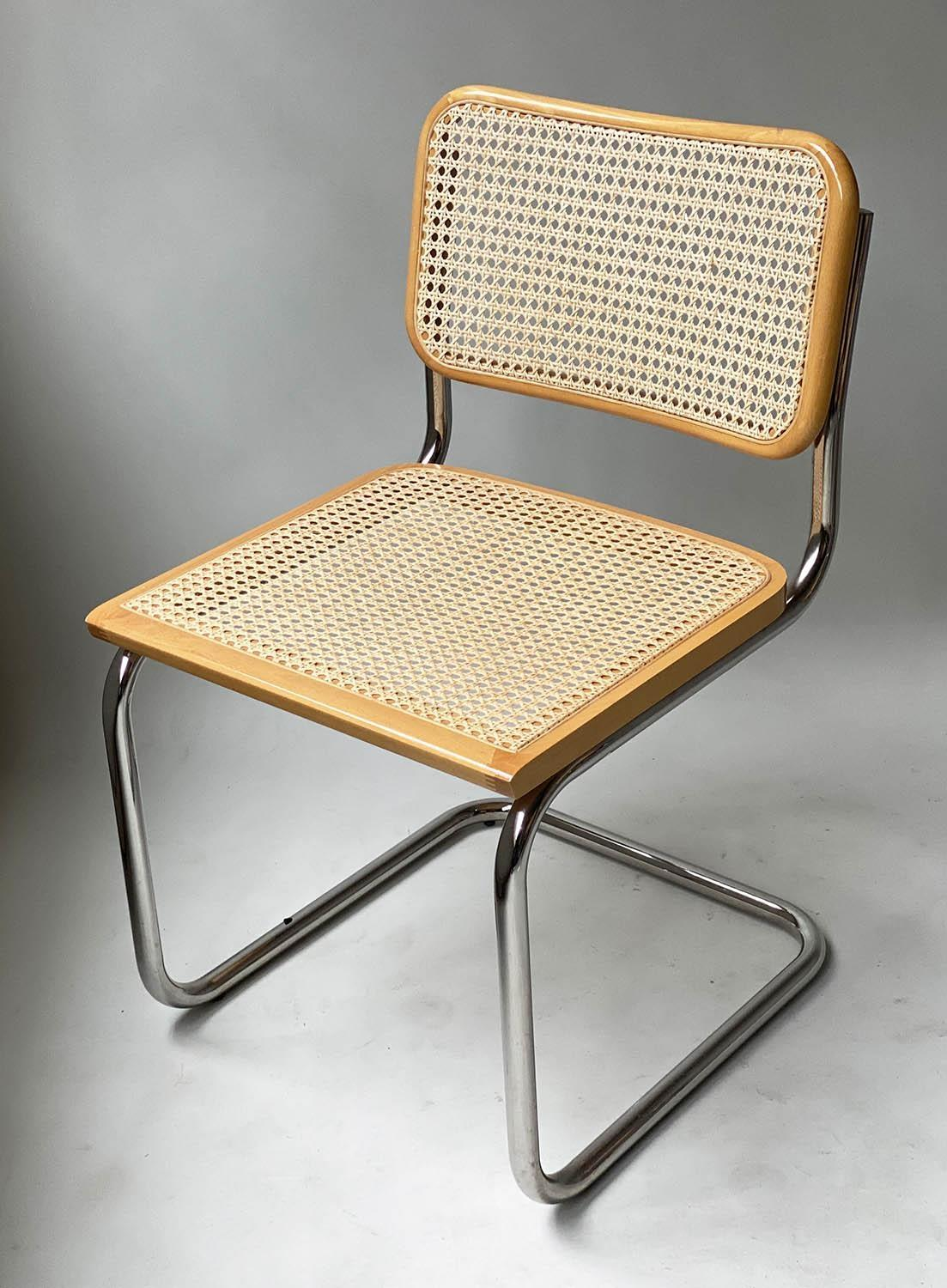 AFTER MARCEL BREUER DINING CHAIRS, Cesca style chairs, a set of six beech wood cane paneled and - Image 7 of 11