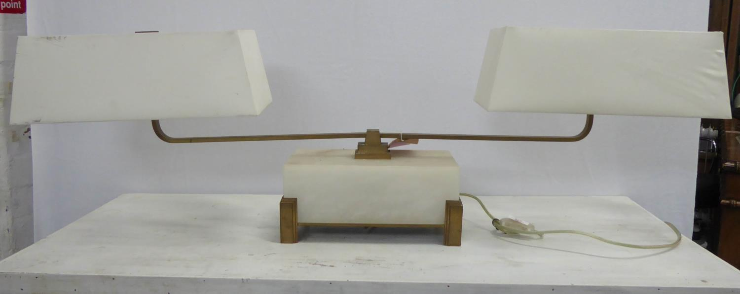 BAKER FURNITURE LIBRARY STEM LAMP BY BILL SOFIELD, with shades, 39cm H.