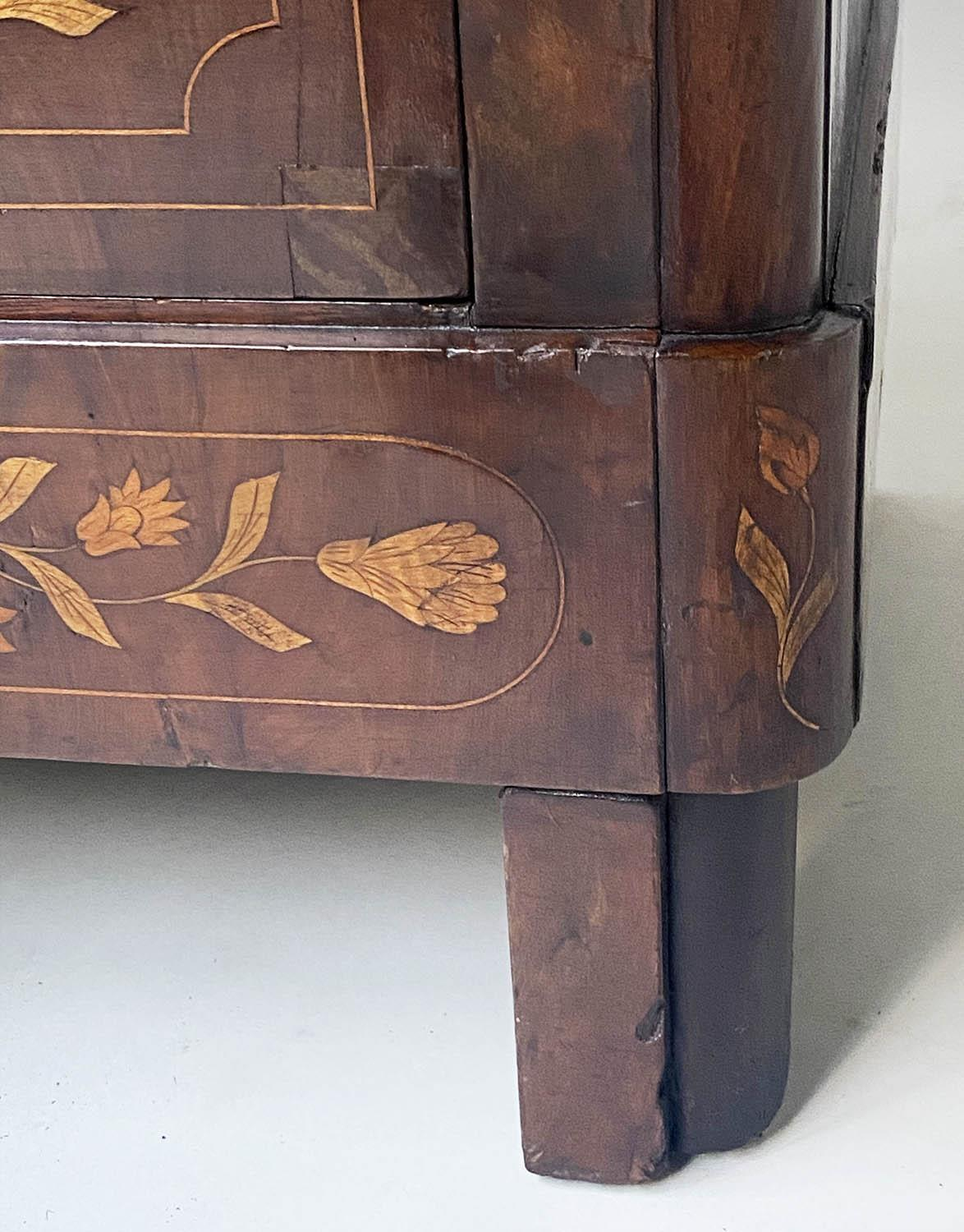 DUTCH COMMODE, 19th century mahogany and foliate satinwood inlaid with variegated white marble and - Image 7 of 8