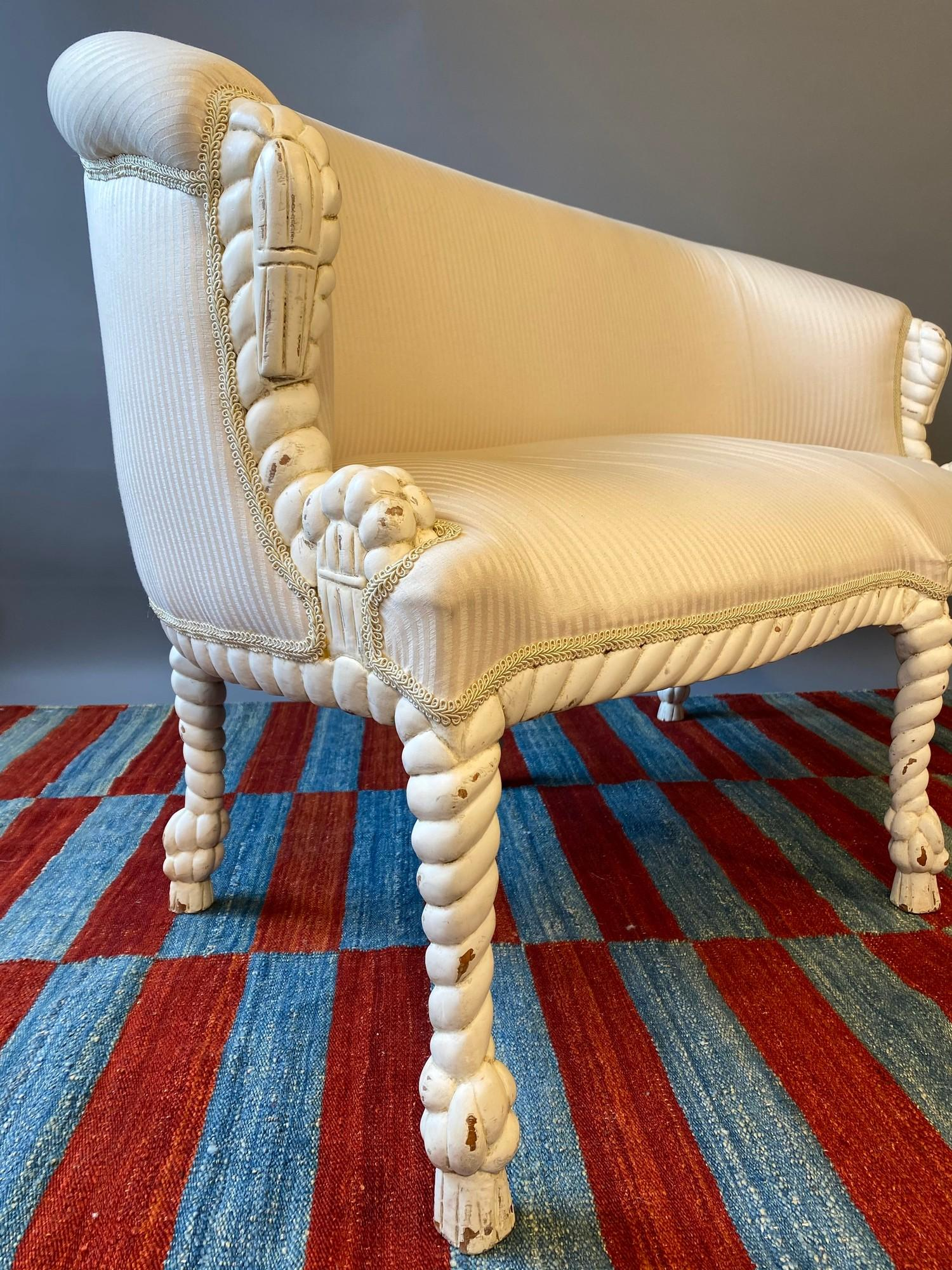 CANAPE, in the manner of A.M.E. Fournier, 20th century French painted carved rope twist frame with - Image 6 of 6