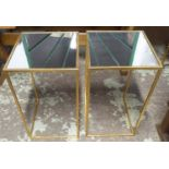 SIDE TABLES, a pair, 1960's French style, gilt metal and mirror, 35.5cm x 35.5cm x 66cm. (2)
