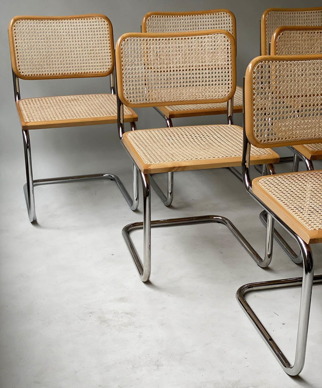 AFTER MARCEL BREUER DINING CHAIRS, Cesca style chairs, a set of six beech wood cane paneled and - Image 10 of 11