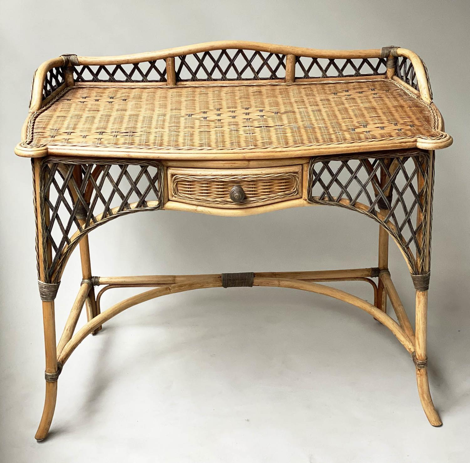 SIDE/WRITING TABLE, vintage Ralph Lauren style two tone rattan with gallery and frieze drawer, 103cm - Image 6 of 6