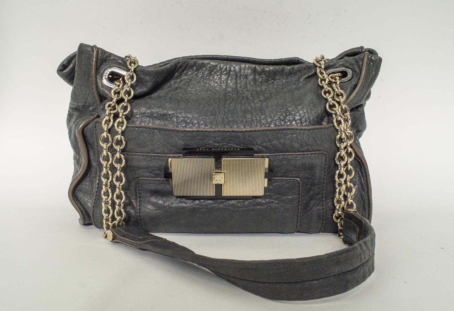 ANYA HINDMARCH SHOULDER BAG, leather with leather and chain strap, gun metal and silver hardware,