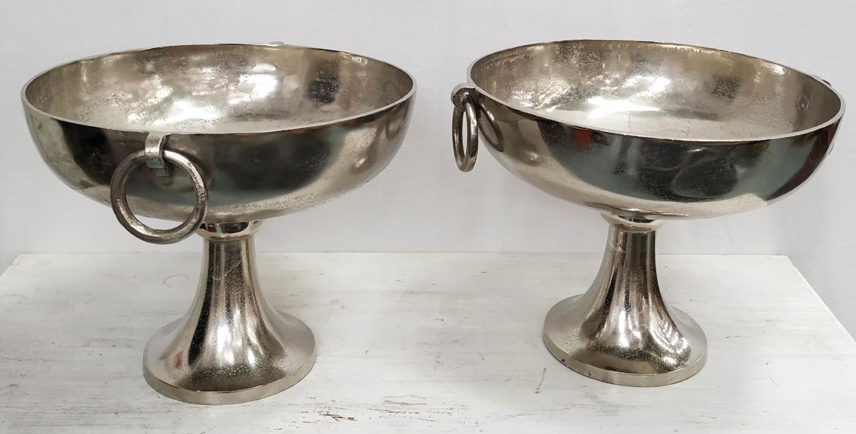 CHAMPAGNE BATHS, a pair, polished metal, 35cm H x 48cm Diam. (2)