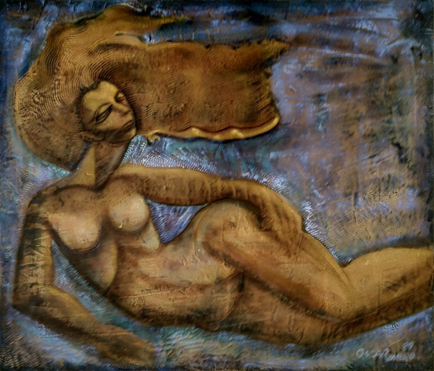 OSCAR ROMERO (Mexico/USA 1954) 'La Cirena - The Mermaid', oil on canvas, 102cm x 127cm, signed,