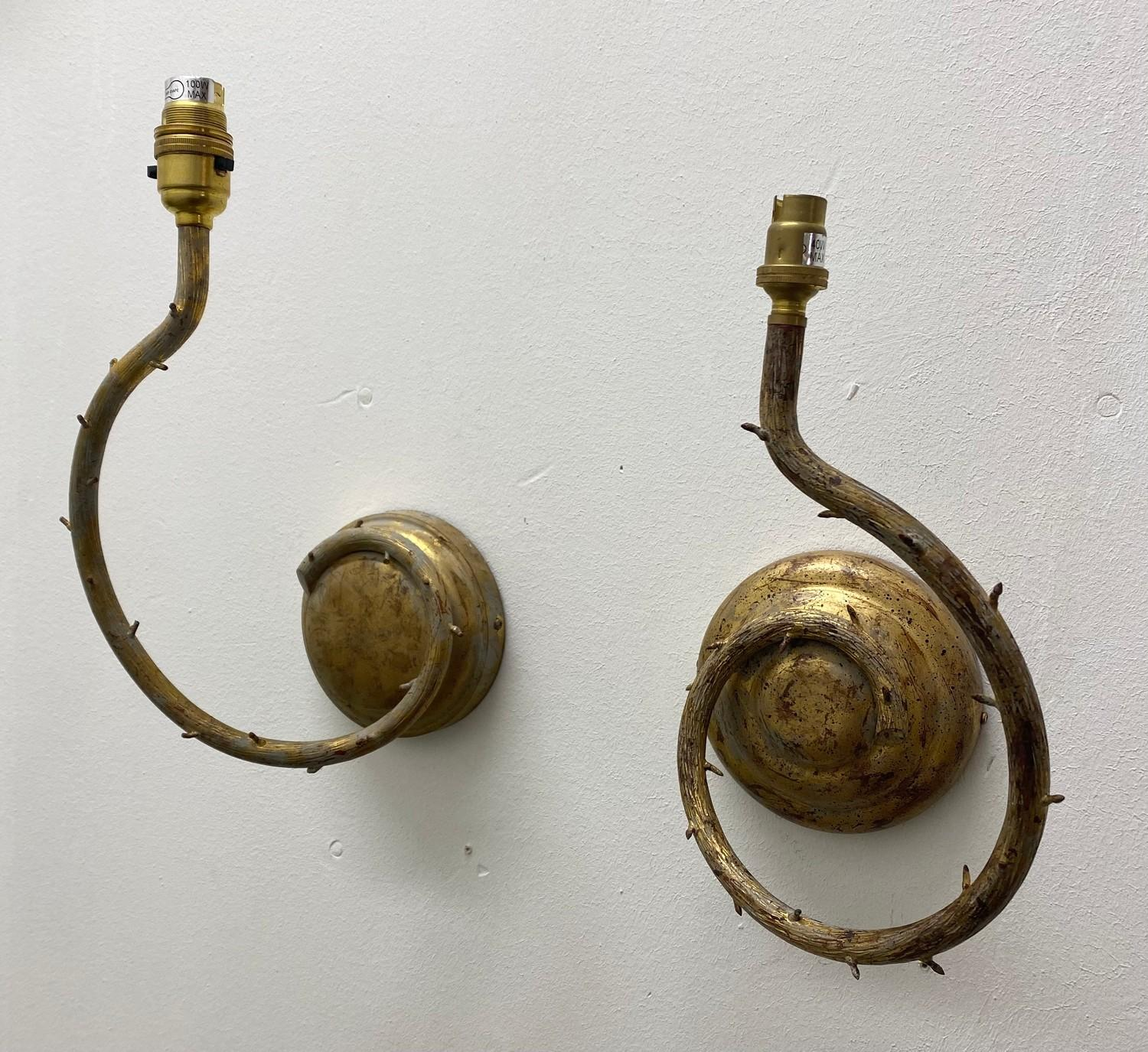 PORTA ROMANA WALL LIGHTS, a near pair, naturalistic branch design in decayed gold, largest 32cm - Image 2 of 5