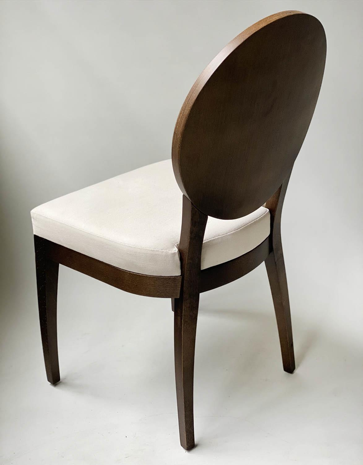 BEDROOM CHAIRS, a pair, contemporary white cotton oval with oak veneered frames, 50cm W. (2) - Image 2 of 9