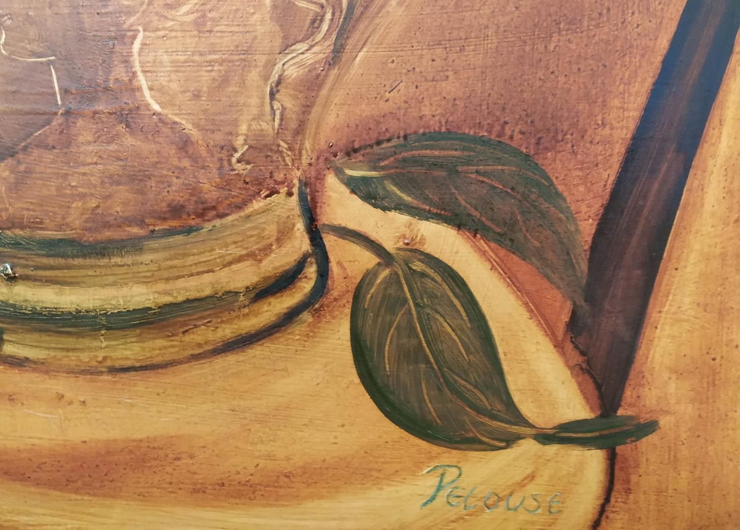 PELOUSE (20th century, France) 'Still Life with Mandolin', Palette, Jug and Flowers', oil on canvas, - Image 2 of 2