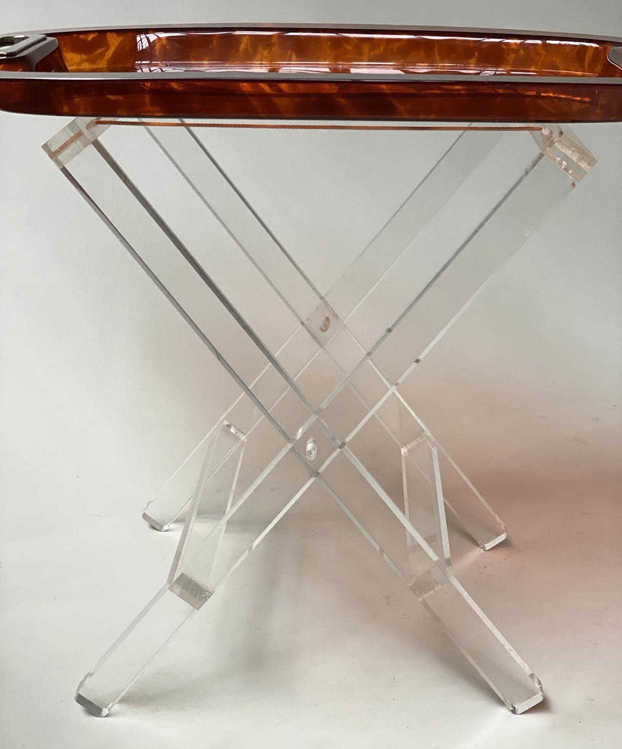 TRAY ON STAND, rectangular faux tortoiseshell with silvered metal handles on folding lucite stand, - Image 6 of 8