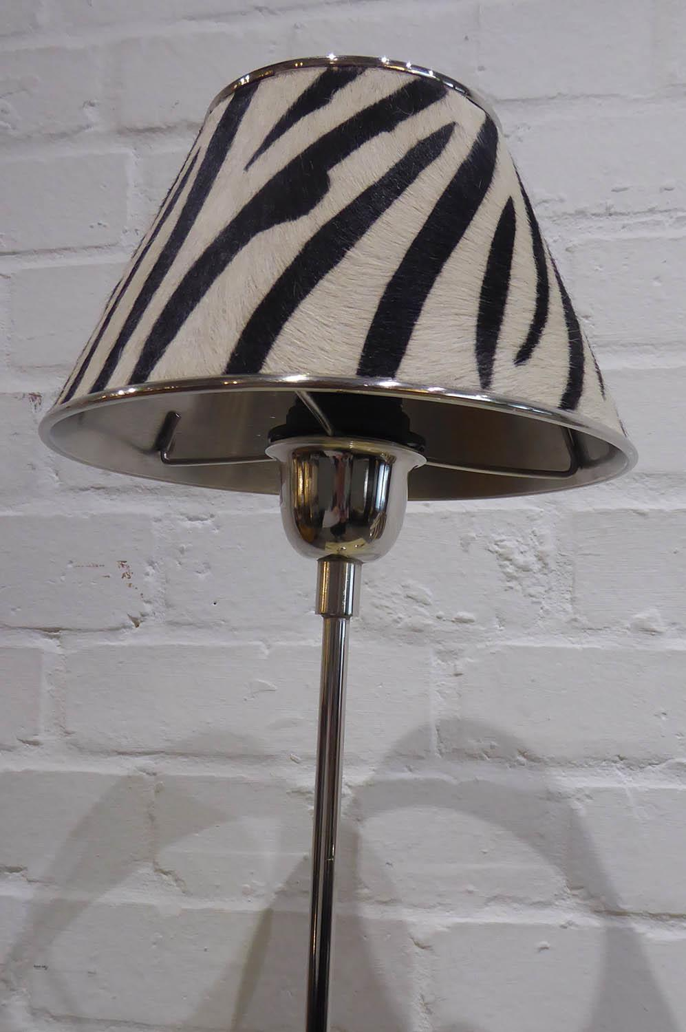 LIBRARY READING LAMPS, a pair, faux zebra skin shades, 89cm at tallest approx. (2) - Image 2 of 3