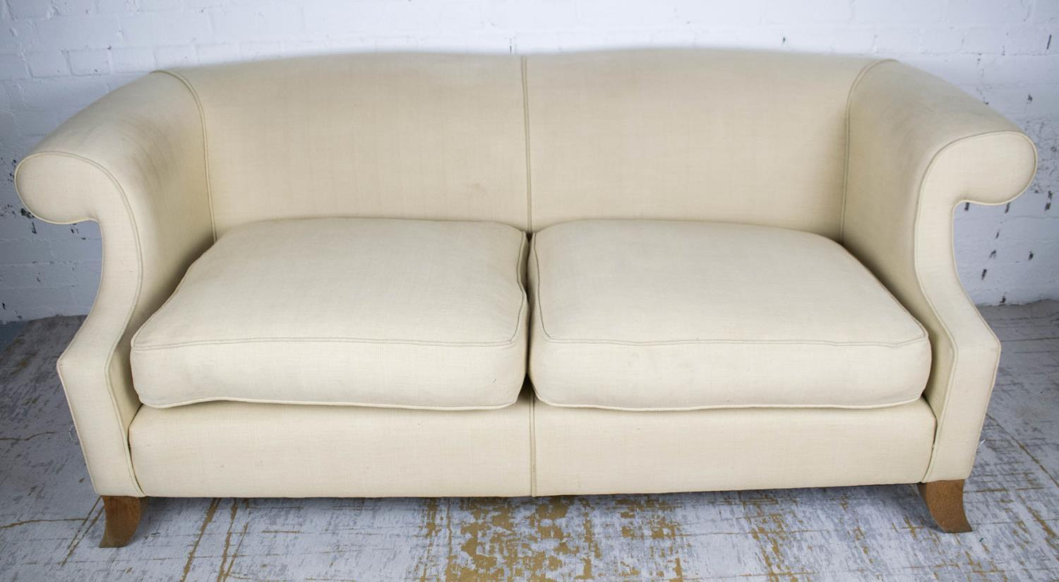 LINLEY SOFA, by David Linley, 77cm H x 203cm L x 98cm D. (with faults)