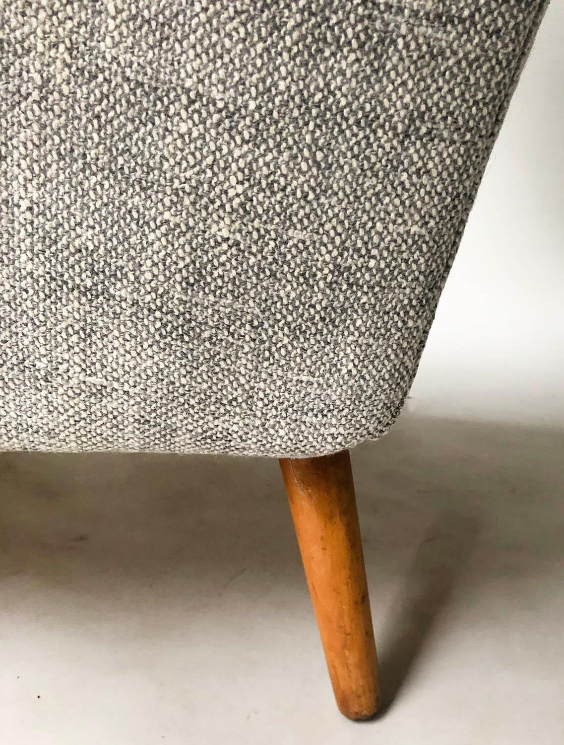 HOWARD KEITH ARMCHAIR, 1950's lounge chair newly upholstered in oatmeal soft tweed with splay - Image 4 of 5