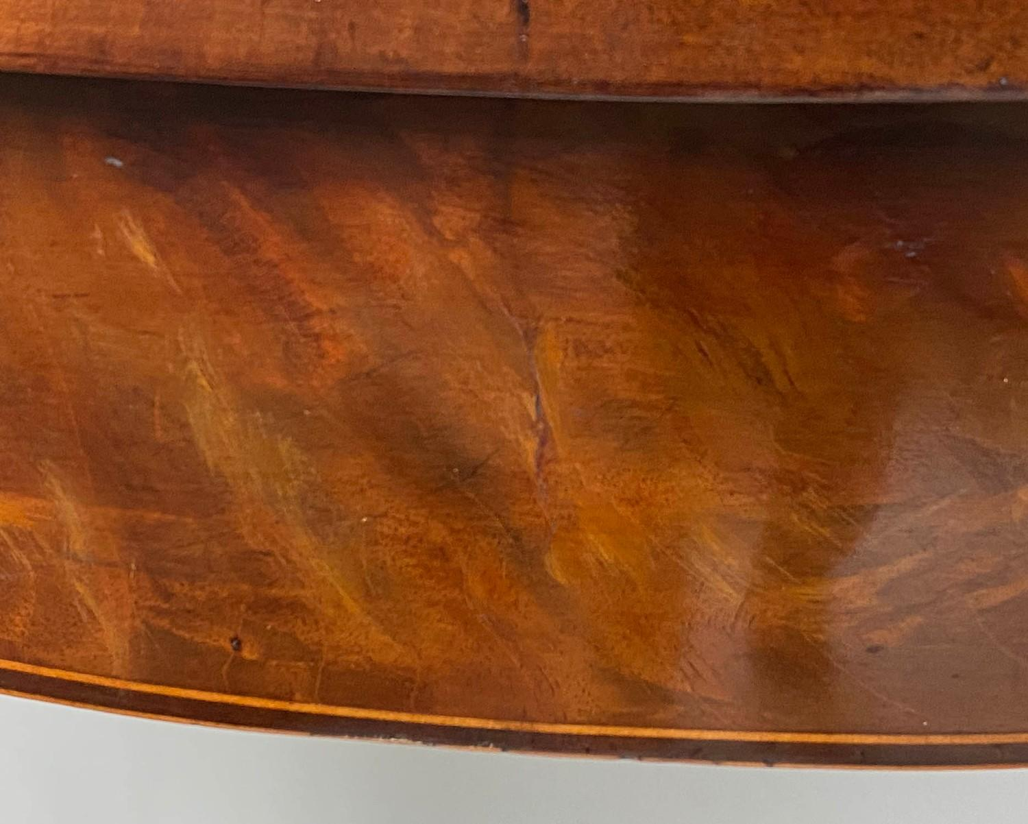 TEA TABLE, George III flame mahogany with demi lune foldover top and satinwood paterae headed - Image 6 of 6