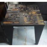 PRINT BLOCK SIDE TABLE, vintage print block top, 60cm x 60cm x 63.5cm.