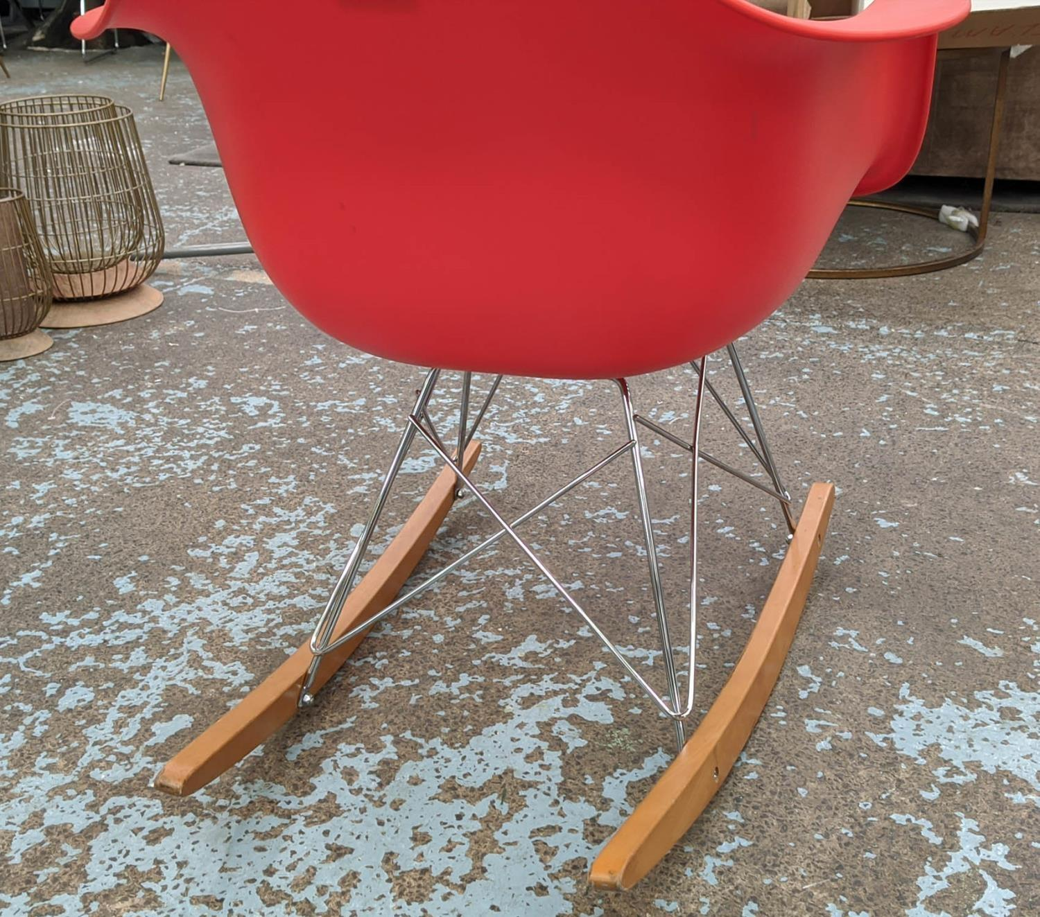 VITRA RAR ROCKING CHAIR, by Charles and Ray Eames, red, 62cm x 70cm H.(scratch to front) - Image 3 of 4