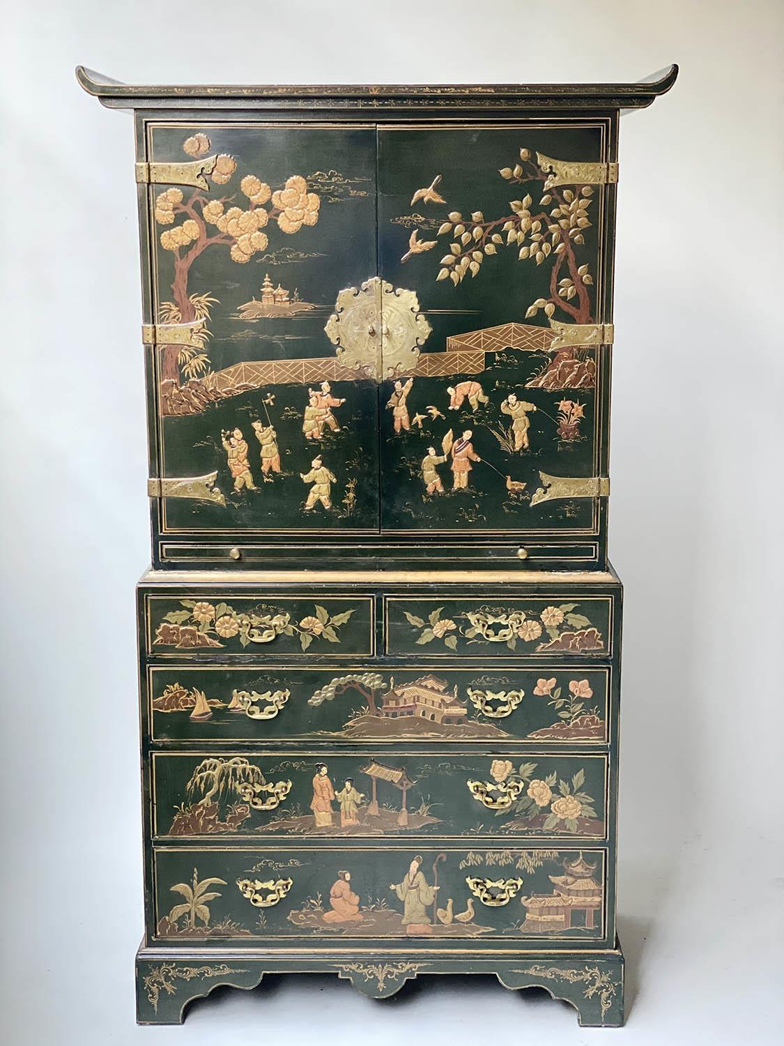 CABINET ON CHEST, 20th century dark green lacquer, gilt metal mounted and Chinoiserie decorated in