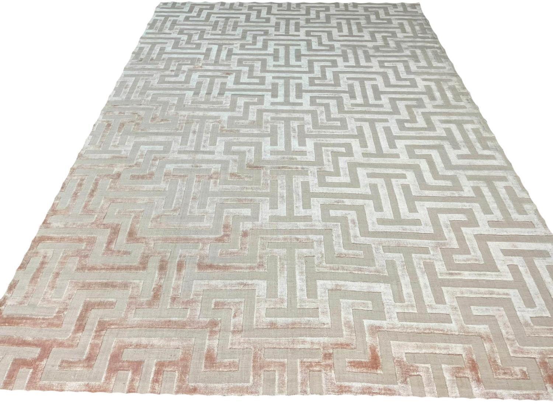 CONTEMPORARY ART DECO DESIGN SILK CARPET, 300cm x 200cm, geometric pastel field.